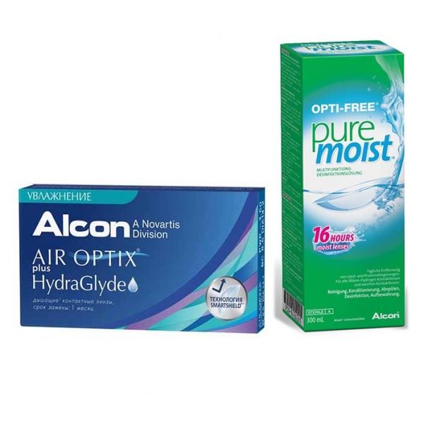 Air Optix  plus HydraGlyde (6 линз) + OptiFree PureMoist (300 мл)